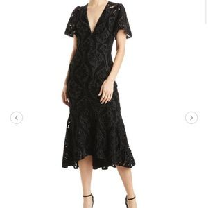 Monique Lhuillier Velvet Midi Cocktail Dress